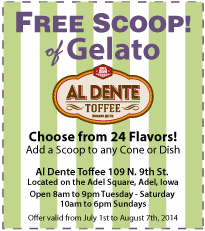 Al Dente Gelato Coupon - July 2014